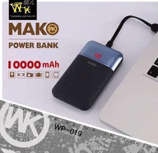 迷你輕巧 10000mAh 移動電源 Light Power Bank 2A Output Quick Fast Charging For iPhone Samsung Galaxy HTC Sony Nokia LG Huawei 小米 ASUS Apple iPad iWatch ( WK ) Black 黑色 100% 原廠正貨 Original Brand