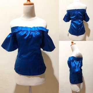 Electric blue off shoulder
