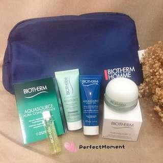 Biotherm travel size aquasource skincare sample and pouch