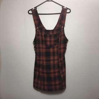 Tartan Overall Style Dress