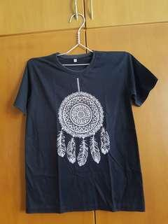 Cotton tshirt black dreamcatcher graphic tee white design