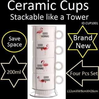 Ceramic Cups - Stackable Like a Tower
