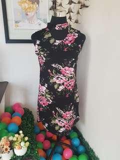 Floral dress (Black) 👗