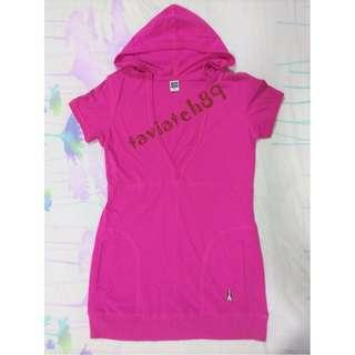 🆕Hush Puppies Pink Red V-neck Hoodie Top/Dress size M #cnyred#MFEB20