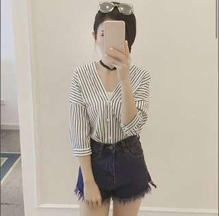 Women Striped Korean Ulzzang Button Shirt