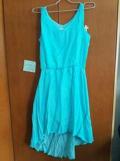 Aqua blue turqoise dress high low hem sinched waist scoop neck