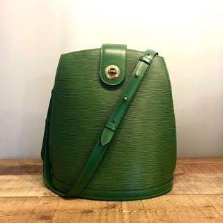 Authentic Louis Vuitton Green Vintage Cluny Bag with gold Hardware