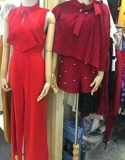 Red tube jumpsuit + outer
