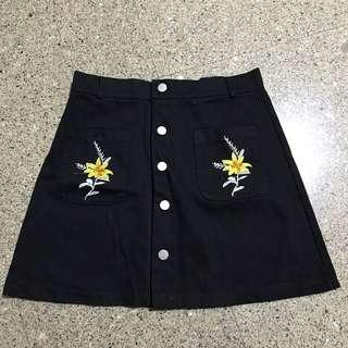 Women Black Yellow Floral Embroidered Skirt