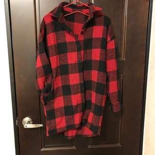 🚚 長版 超厚 格紋襯衫