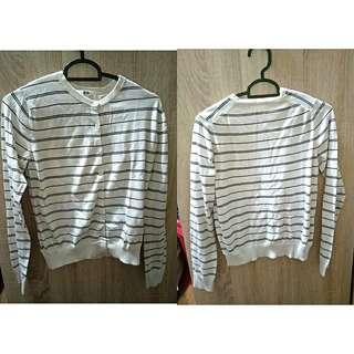 Uniqlo stripe cardi/blouse