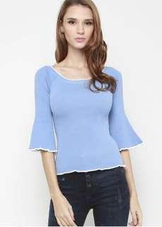 Sophialuv Ring A Ding Sleeve Knit Top In Sky Blue