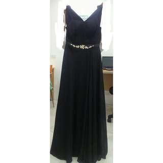 Black off shoulder Evening Gown