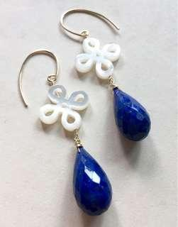 Lapis Lazuli Mother of Pearl 14k Gold Filled Earrings