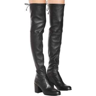 BN Authentic STUART WEITZMAN Tieland Boots in Black Leather sz US6.5 EU37 retail 14jt!