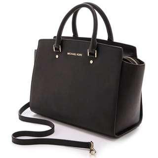Authentic Michael Kors Selma Large Saffiano Leather Satchel Black
