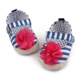 🚚 Baby Shoes - Flower Stripe