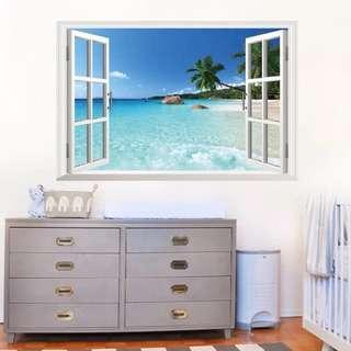 🚚 60X90cm Sea view fake window wall decal sticker