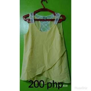 Sleeveless Blouse (Yellow & Lace)