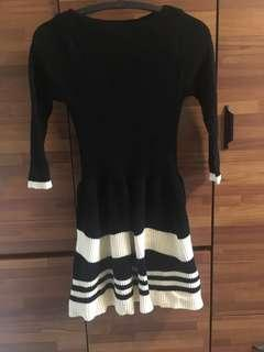🚚 氣質黑白五分袖針織洋裝