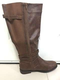 Torrid Brown/Camel US Size 11 FAUX LEATHER BUCKLE BOOT (WIDE WIDTH & WIDE TO EXTRA WIDE CALF