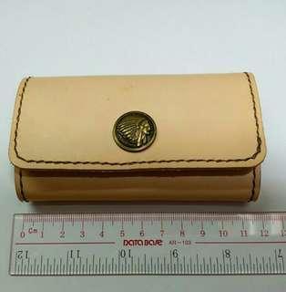 鑰匙包 100% 真皮 鎖匙包 handmade 植楺皮 長方形 古銅色 印第安鈕扣 情侶 女朋友 紀念日 生日 禮物 男朋友