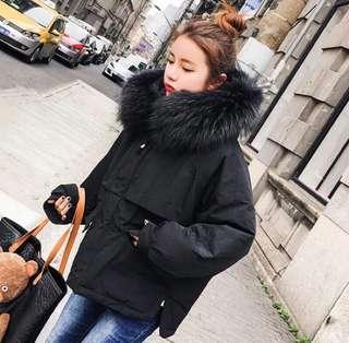 🚚 韓國🇰🇷黑色羽絨連帽外套 韓貨雙倍厚鋪棉大衣