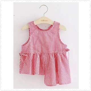 *Clearance Offer* Red Gingham Asymmetric Blouse