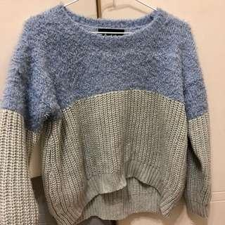 藍灰拼色毛衣