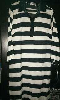 ZIYA Black & White Big Striped w/ Lace accent Dress