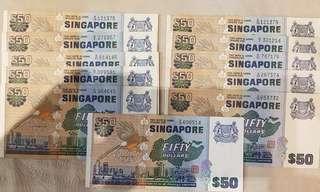 Singapore $50 bird serial