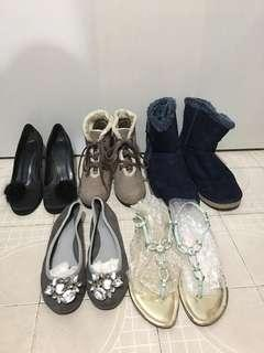 5 shoes total $100  (boot , high heel shoes)