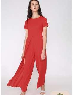[ wts ] yacht 21 ailly split front jumpsuit in red