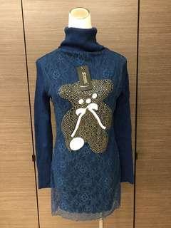 🚚 全新 針織高領蕾絲長版衣