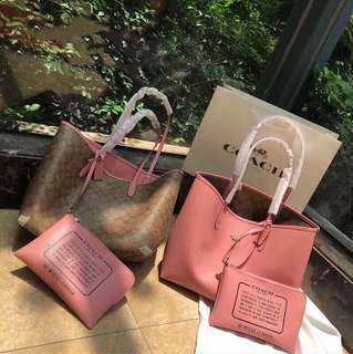 7b62fbb94d5f Coach classic tote bag large size pink + brown 2 sizes use with small clutch