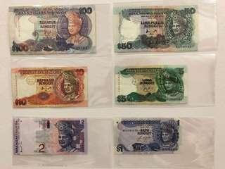 Malaysia Old Notes - Complete set
