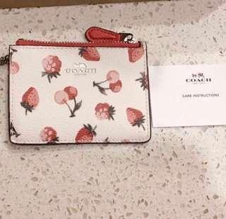 BNWT - Coach Mini Skinny ID Case with Fruit Print