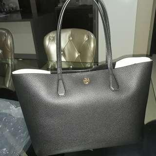 Tory Burch Brody Black Pebbled Leather Tote Bag