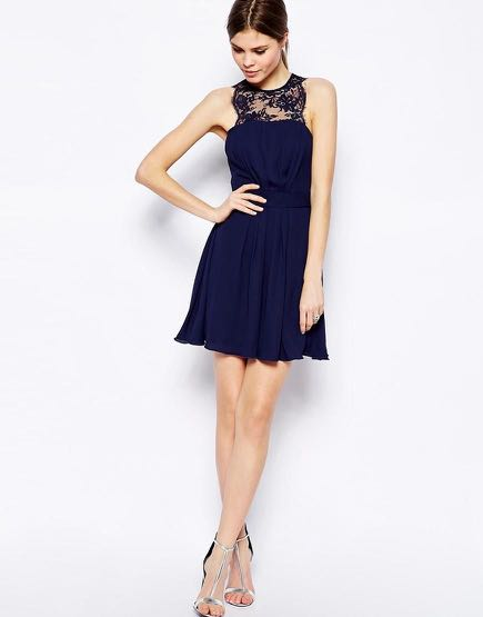 293366415cb2 Asos Elise Ryan Skater Dress with Scallop Lace Trim