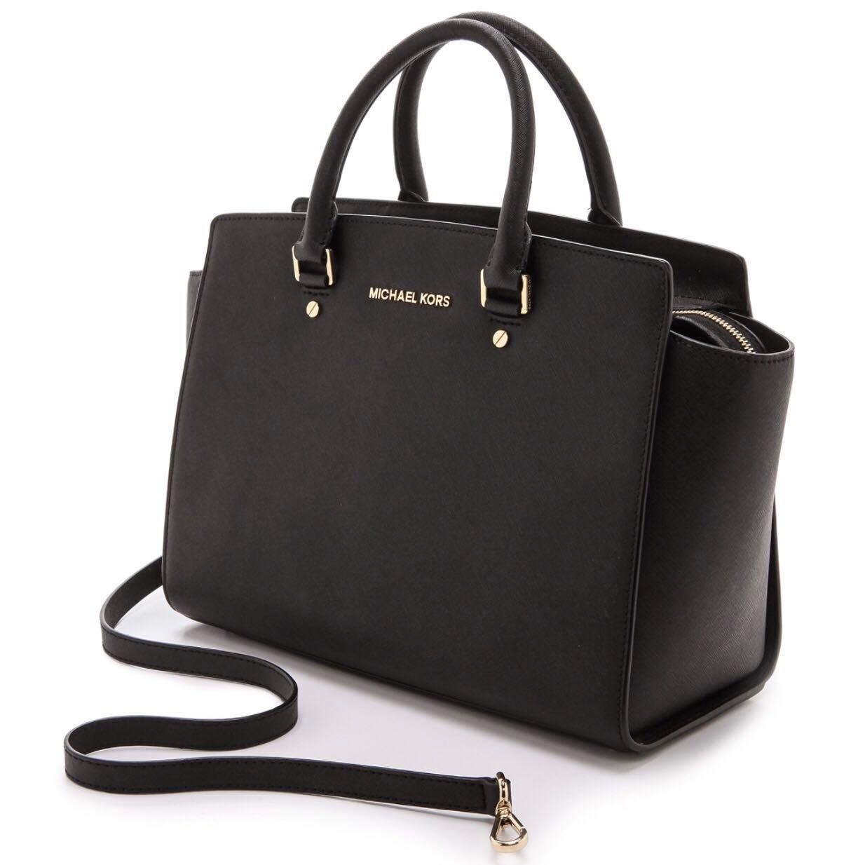 1110fec8ece50 Authentic Michael Kors Selma Large Saffiano Leather Satchel Black ...