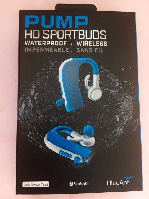 Blueant Pump Hd Wireless Sportbuds Stereo Waterproof Headphone Headset