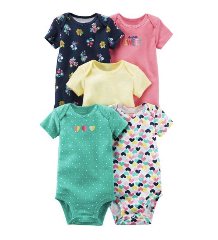 561800952 BN Carters Baby Girl Super Sweet Hearts Set of 5 Bodysuits Romper ...