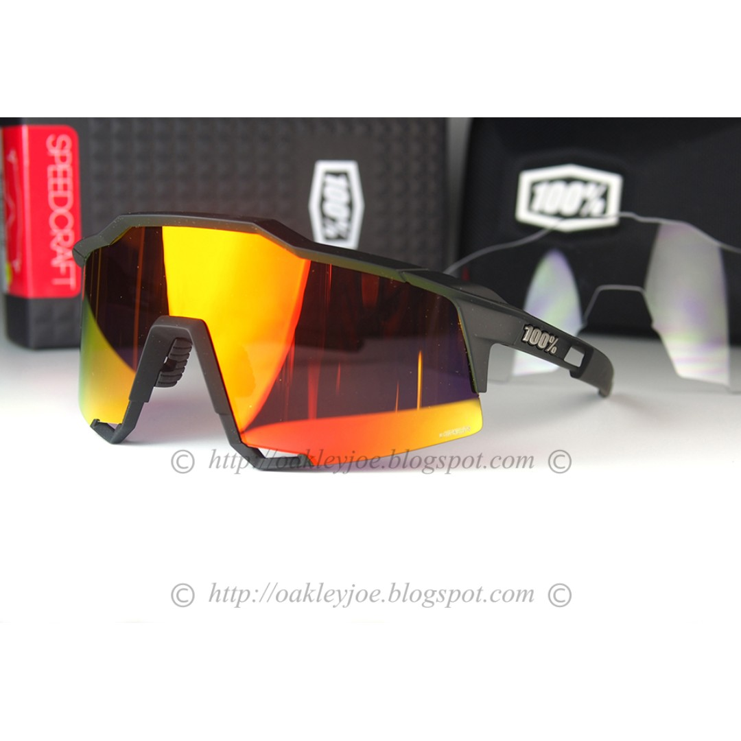 316a2c4bbacd8 BNIB 100% Percent Speedcraft SL Long Lens soft tact + hiper red lens  cycling sunglass shades