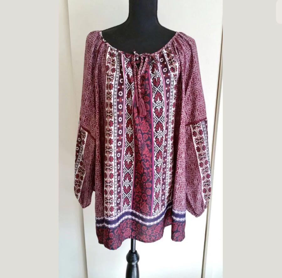 BNWOT Autograph sz 14 purple floral plus size women top blouse shirt tunic loose