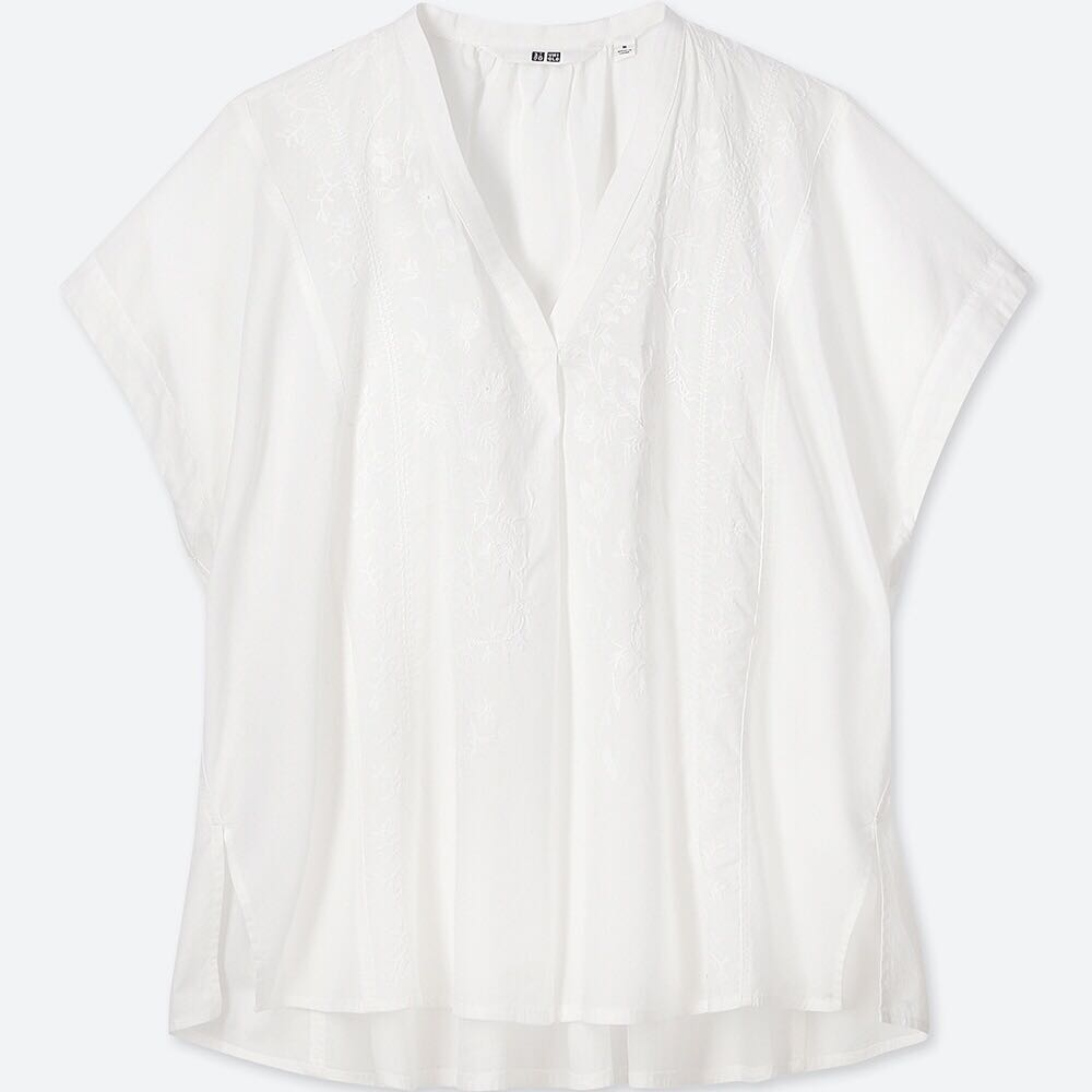 d3867976 Womens White Cotton Short Sleeve Blouse - Image Of Blouse and Pocket