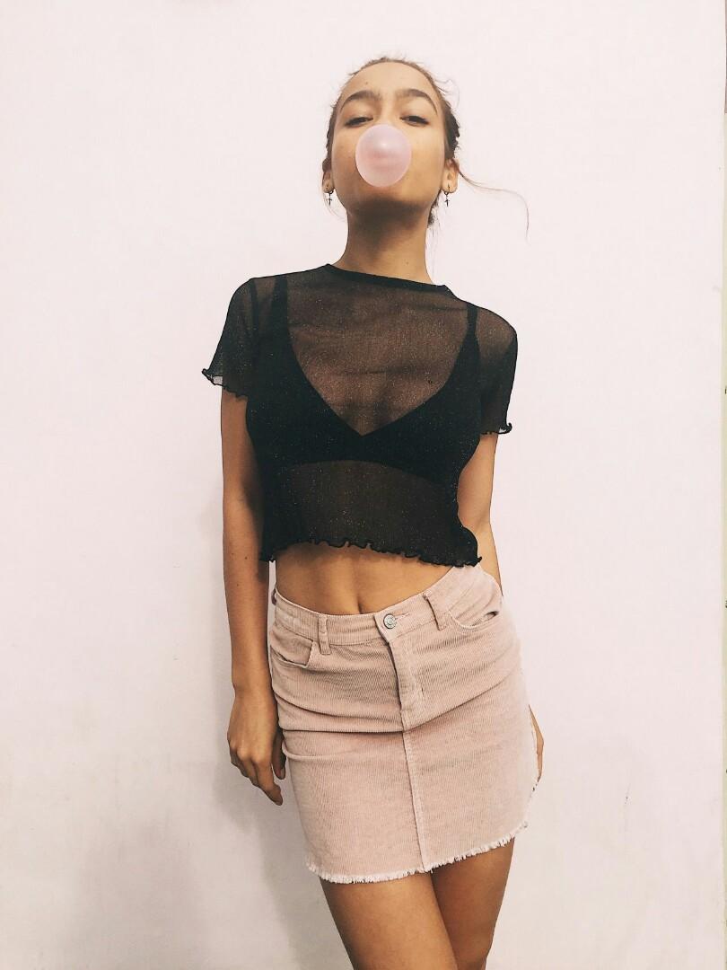 229007593c5 brandy melville porter glitter top black, Women's Fashion, Clothes ...