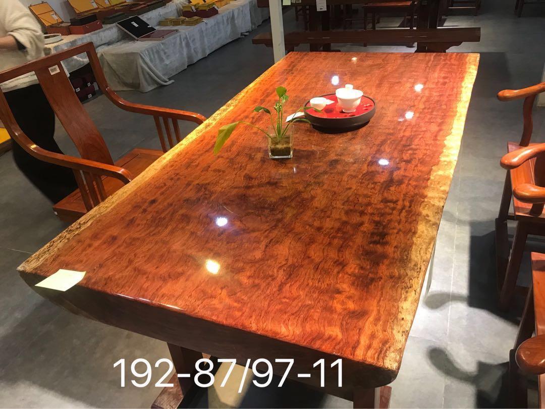 Bubinga slab table for dinner table