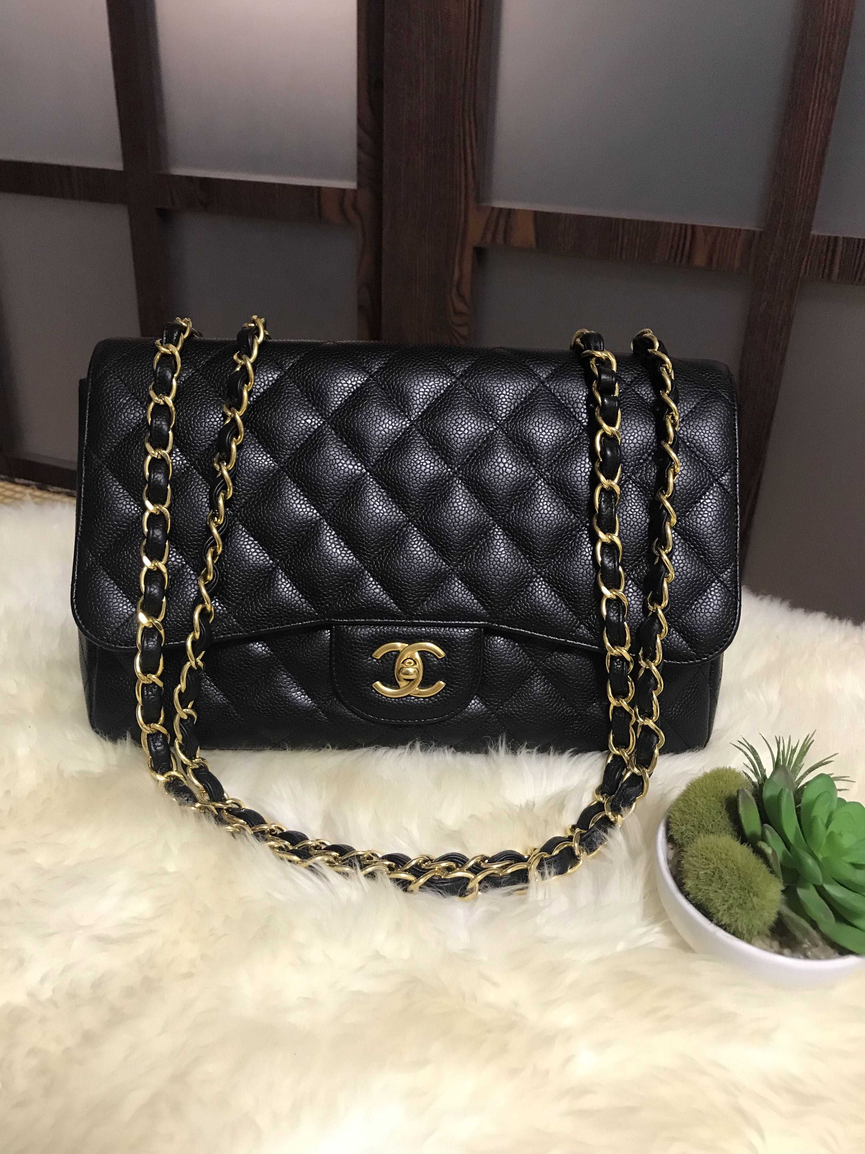 7deabbb9853f Chanel Jumbo Caviar Classic Single Flap Black With Ghw, Luxury, Bags ...