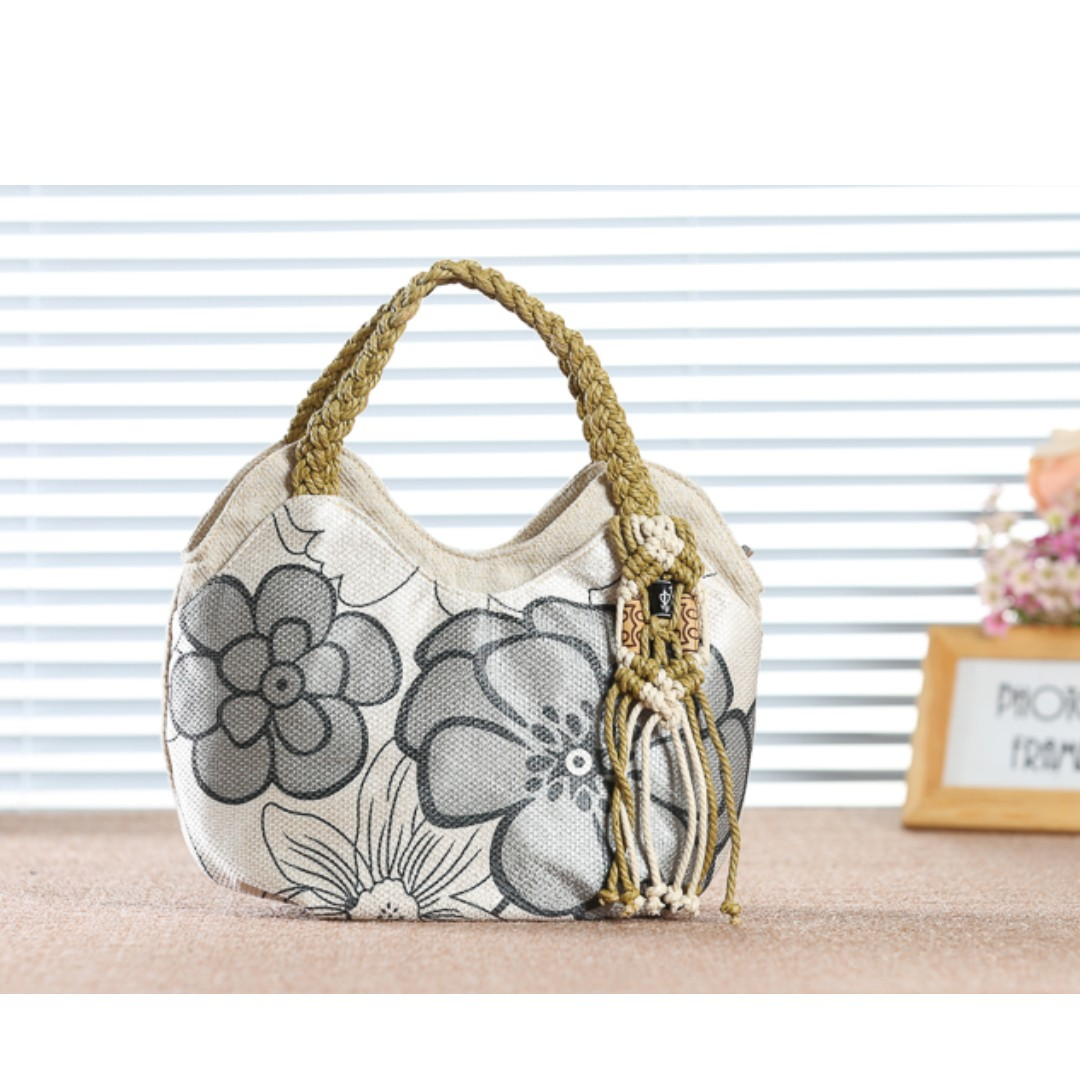 0d80c75083fe Cotton-Linen Hand- Carried Handbag with flower printing for Sale ...