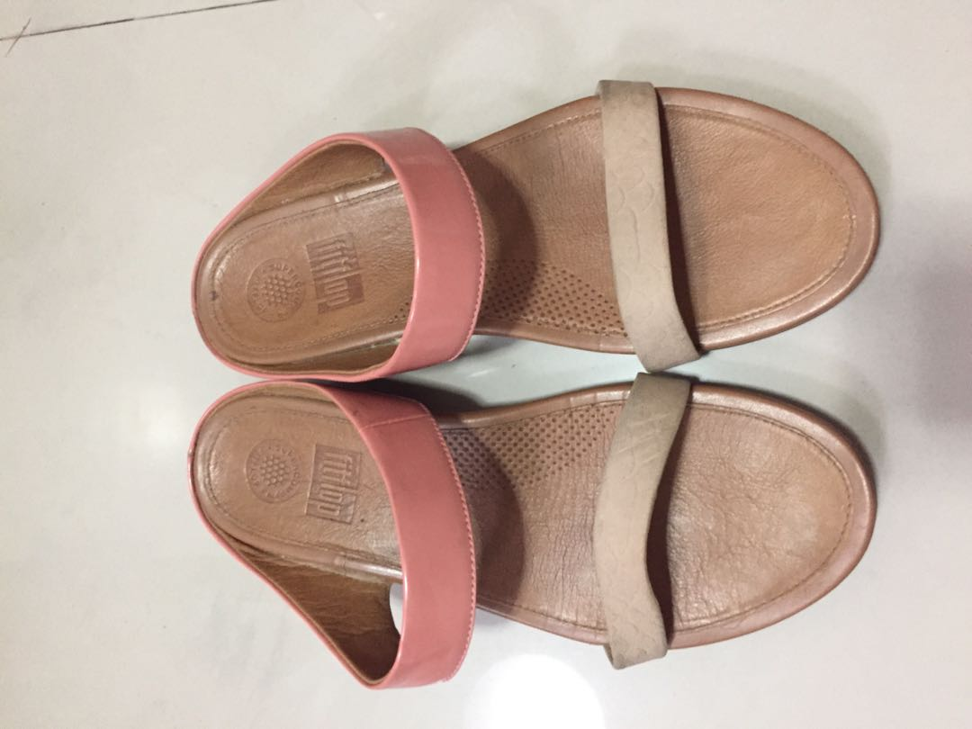 a537aa7582c983 FitFlop Banda Imi-leather Slide Sandals Peach